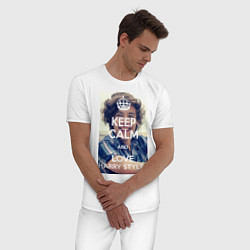 Пижама хлопковая мужская Keep Calm & Love Harry Styles цвета белый — фото 2