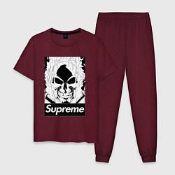 Пижама хлопковая мужская Supreme Skull цвета меланж-бордовый — фото 1