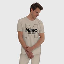 Пижама хлопковая мужская Metro Exodus цвета миндальный — фото 2
