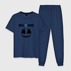 Пижама хлопковая мужская Marshmello Mellogang цвета тёмно-синий — фото 1