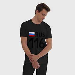 Пижама хлопковая мужская RUS 116 цвета черный — фото 2