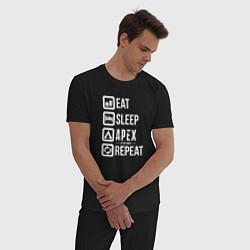 Пижама хлопковая мужская Eat, Sleep, Apex, Repeat цвета черный — фото 2