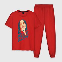 Пижама хлопковая мужская Billie Eilish: Dark Style цвета красный — фото 1