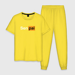 Пижама хлопковая мужская Senpai: Pornhub Style цвета желтый — фото 1