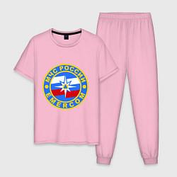 Пижама хлопковая мужская Emercom Russia цвета светло-розовый — фото 1