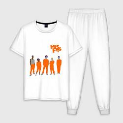 Пижама хлопковая мужская Misfits Orange цвета белый — фото 1