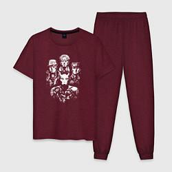 Пижама хлопковая мужская JoJo цвета меланж-бордовый — фото 1