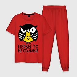 Пижама хлопковая мужская Нервы то не стальные цвета красный — фото 1