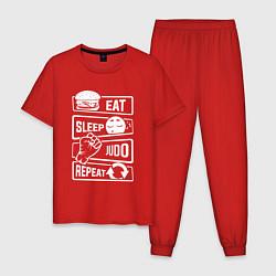 Пижама хлопковая мужская Есть, спать, дзюдо цвета красный — фото 1