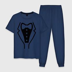 Пижама хлопковая мужская Класcический смокинг цвета тёмно-синий — фото 1