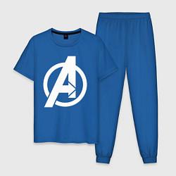 Пижама хлопковая мужская Avengers Symbol цвета синий — фото 1