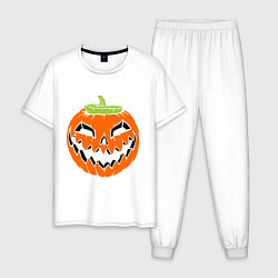 Пижама хлопковая мужская Хэллоуин тыква цвета белый — фото 1