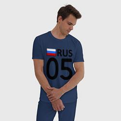 Пижама хлопковая мужская RUS 05 цвета тёмно-синий — фото 2
