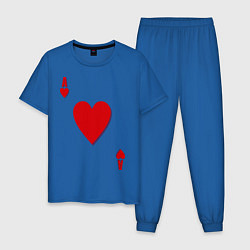 Пижама хлопковая мужская Червовый туз цвета синий — фото 1