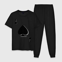 Пижама хлопковая мужская Пиковый туз цвета черный — фото 1