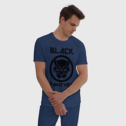 Пижама хлопковая мужская Черная пантера цвета тёмно-синий — фото 2
