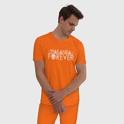 Пижама хлопковая мужская Wakanda white цвета оранжевый — фото 2