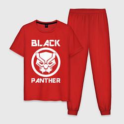 Пижама хлопковая мужская Черная пантера цвета красный — фото 1