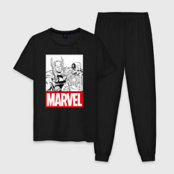 Пижама хлопковая мужская Thor & Captain America цвета черный — фото 1