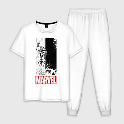 Пижама хлопковая мужская Iron Man: Marvel цвета белый — фото 1