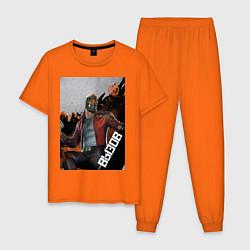 Пижама хлопковая мужская Звездный лорд цвета оранжевый — фото 1