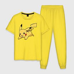 Пижама хлопковая мужская Радостный Пикачу цвета желтый — фото 1