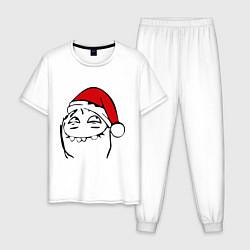 Пижама хлопковая мужская Новогодний трололо цвета белый — фото 1