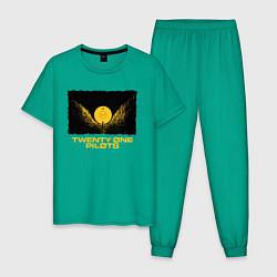 Пижама хлопковая мужская TWENTY ONE PILOTS TOP цвета зеленый — фото 1