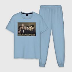 Пижама хлопковая мужская Rammstein Metal цвета мягкое небо — фото 1