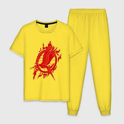Пижама хлопковая мужская Пламенная птица цвета желтый — фото 1