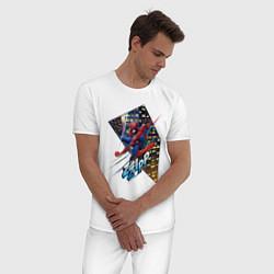 Пижама хлопковая мужская Человек-паук на фоне города цвета белый — фото 2