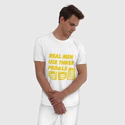 Пижама хлопковая мужская Настоящие мужики используют три педали цвета белый — фото 2