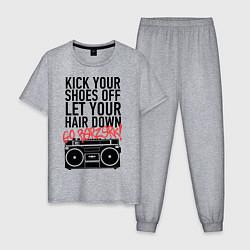 Пижама хлопковая мужская Kick your shoes цвета меланж — фото 1