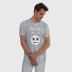 Пижама хлопковая мужская Dead inside цвета меланж — фото 2