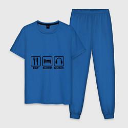 Пижама хлопковая мужская Eat Sleep Music цвета синий — фото 1