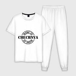 Пижама хлопковая мужская Made in Chechnya цвета белый — фото 1