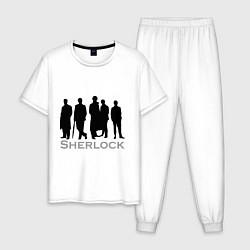 Пижама хлопковая мужская Sherlock Band цвета белый — фото 1