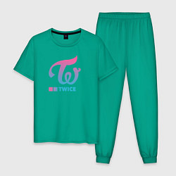 Пижама хлопковая мужская Twice цвета зеленый — фото 1