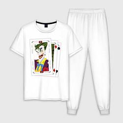 Пижама хлопковая мужская Joker Cards цвета белый — фото 1