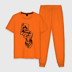 Пижама хлопковая мужская Joker Playing Card цвета оранжевый — фото 1