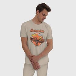 Пижама хлопковая мужская Batmobile цвета миндальный — фото 2