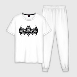 Пижама хлопковая мужская Batman цвета белый — фото 1
