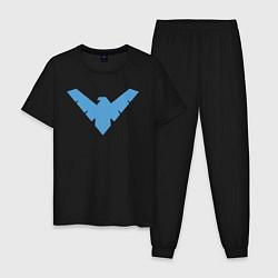 Пижама хлопковая мужская Nightwing цвета черный — фото 1