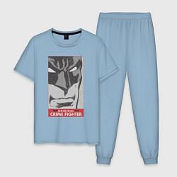 Пижама хлопковая мужская Crime Fighter цвета мягкое небо — фото 1