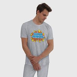 Пижама хлопковая мужская Super Powers цвета меланж — фото 2