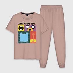Пижама хлопковая мужская Время приключений цвета пыльно-розовый — фото 1
