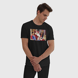 Пижама хлопковая мужская Wow цвета черный — фото 2