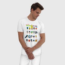 Пижама хлопковая мужская Super heroes have issues too цвета белый — фото 2