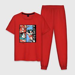 Пижама хлопковая мужская Лига Справедливости цвета красный — фото 1