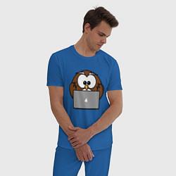 Пижама хлопковая мужская Сова с ноутбуком цвета синий — фото 2